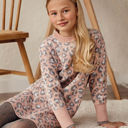 Dievčenské jemné pletené šaty s dlhým rukávom