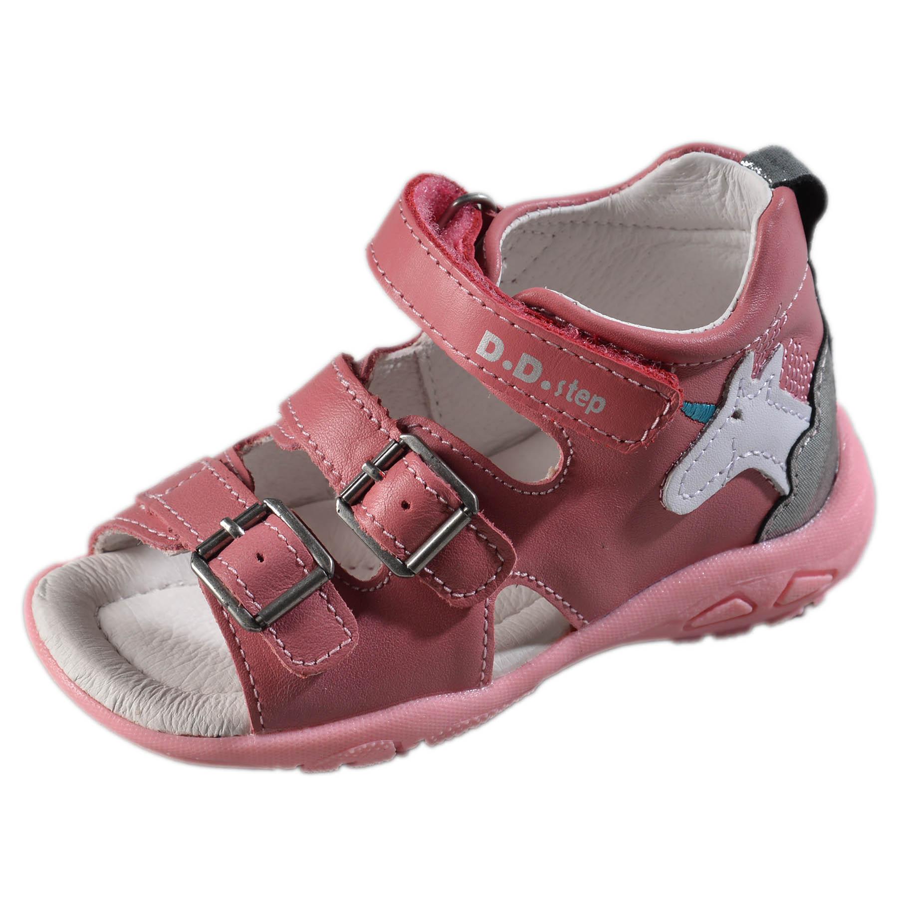 0e5234283d56 Dievčenské kožené sandále-Pink DDstep - AC290-7025C