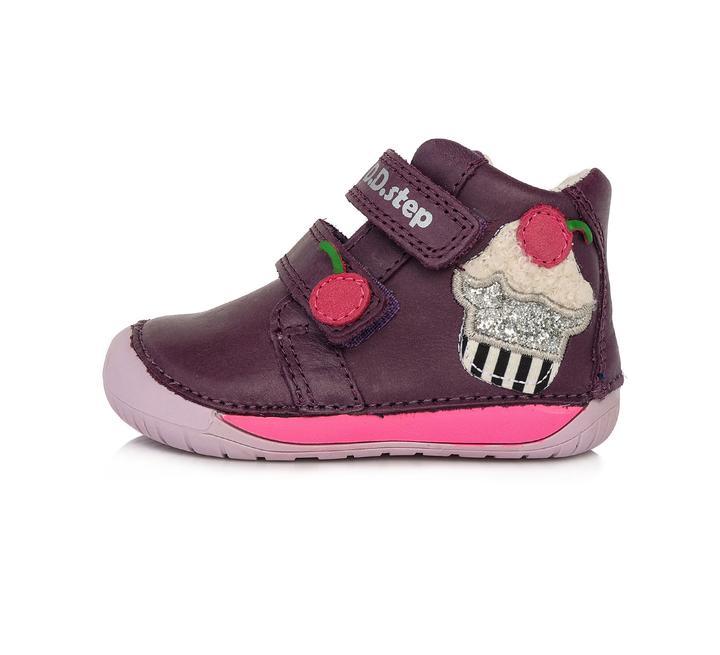 Dievčenské kožené kotníkové  topánky-Violet-BAREFOOT