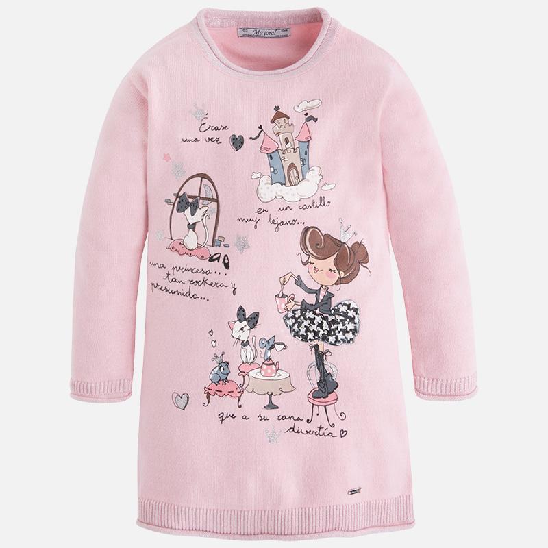 Dievčenské tenké pletené šaty s potlačou