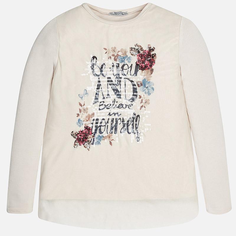5699ddcc5fdf Dievčenské tričko s dlhým rukávom s potlačou šité s flitrami Mayoral ...