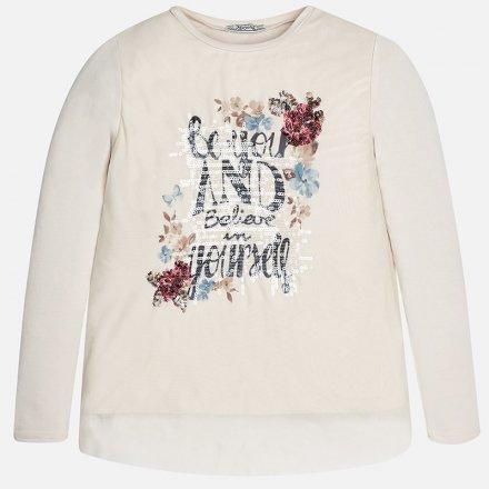 Dievčenské tričko s dlhým rukávom s potlačou šité s flitrami