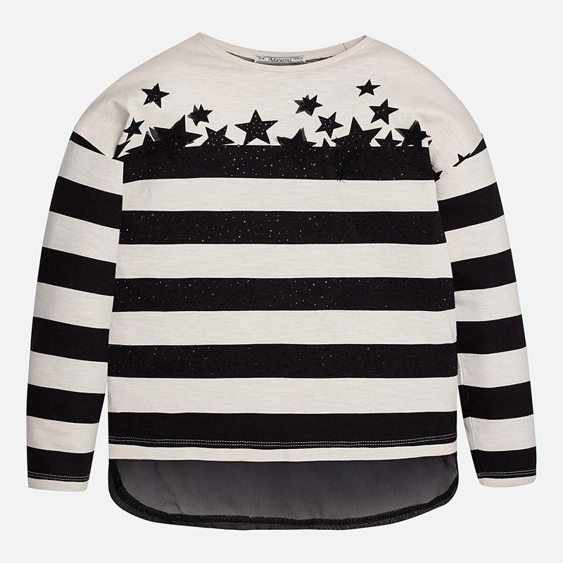 Dievčenské tričko pruhované s dlhým rukávom a s kamienkami