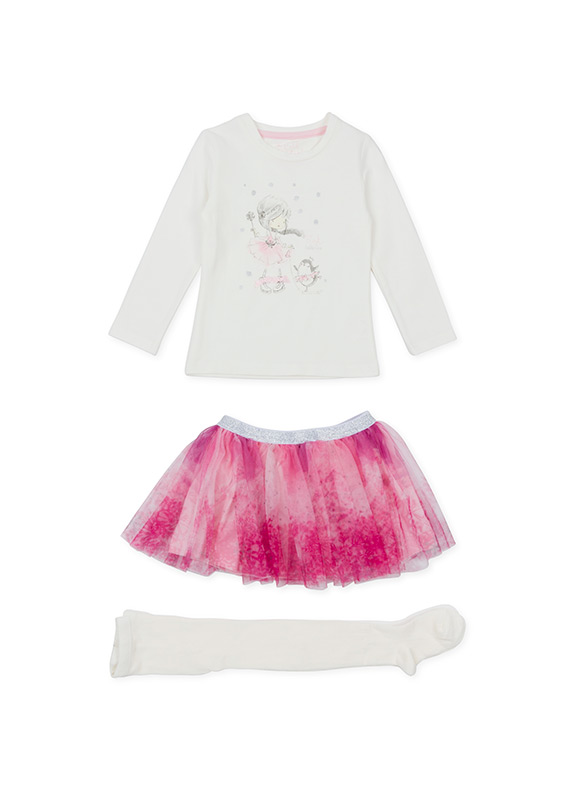 Dievčenská súprava tričko s potlačou a s tylovou sukňou