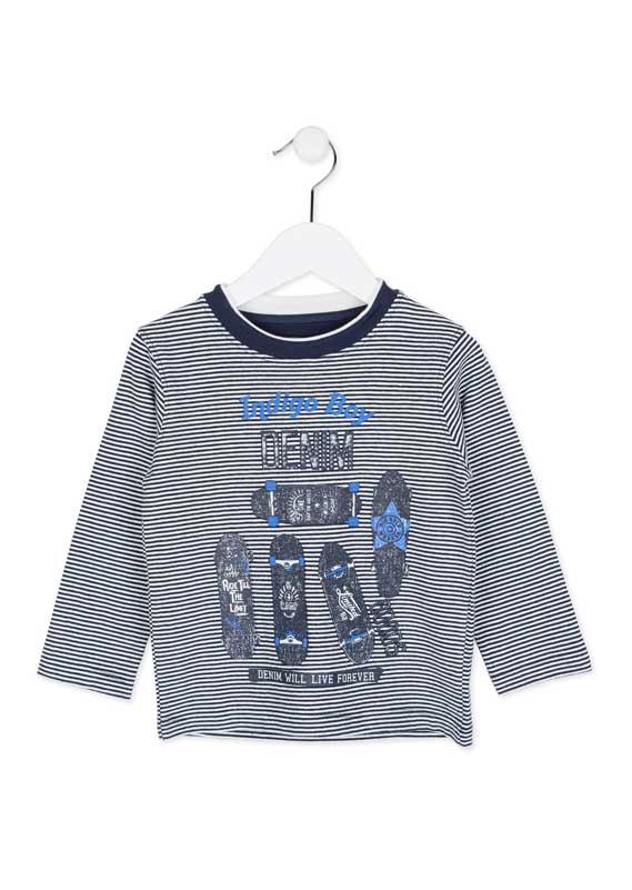 Chlapčenské pruhované tričko s dlhým rukávom a s potlačou