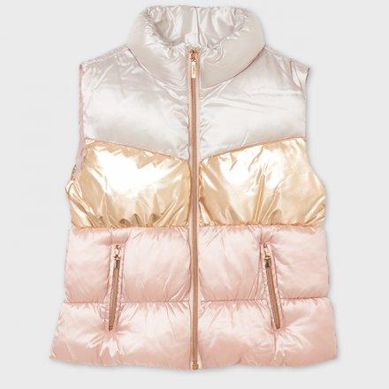 Dievčenská metalická vesta bez kapucne