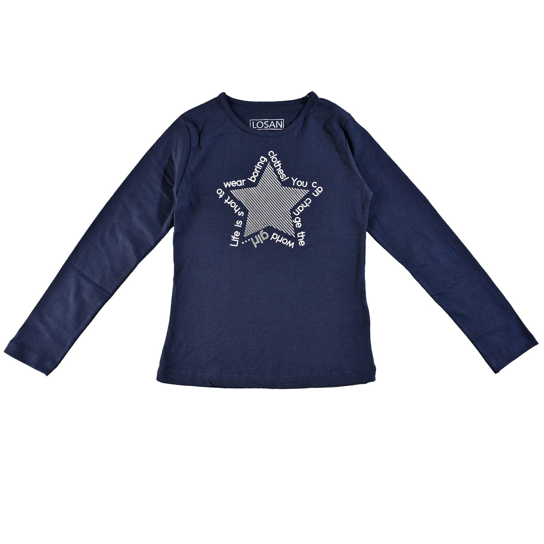 1a76667c381a Dievčenské tričko s dlhým rukávom a s potlačou Losan - 724-1011-032 ...