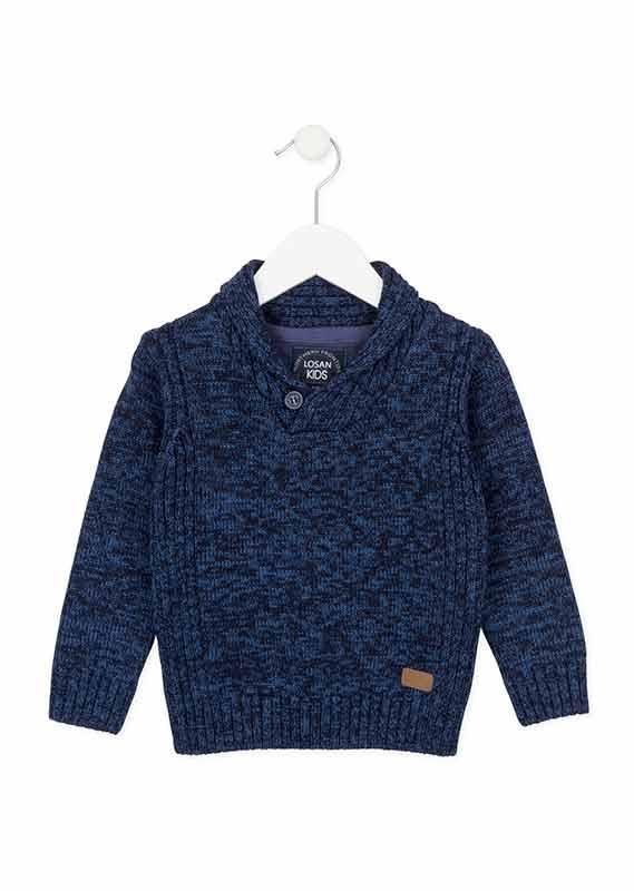 Chlapčenský pletený pulóver so šálovým golierom