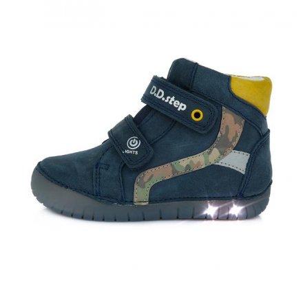 Chlapčenské kožené blikajúce prechodné topánky-Royal Blue