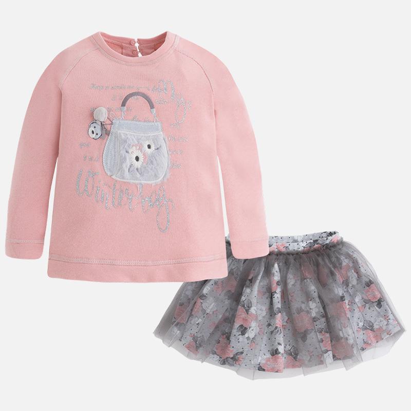 Dievčenská súprava pulóvrik s našívkami a tylová sukňa