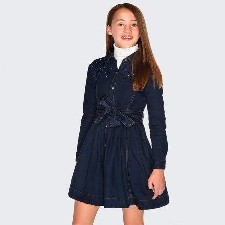 Riflové šaty s opaskom