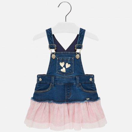 Dievčenské kombinované šaty na traky