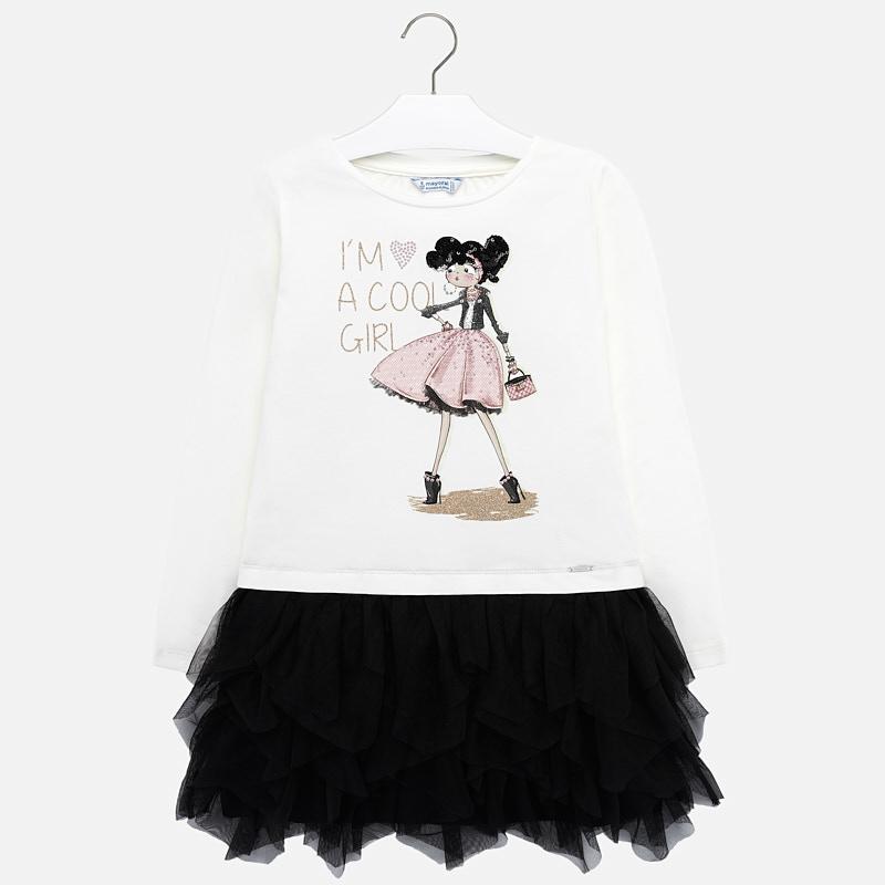 Dievčenské kombinované šaty s tylovou sukňou