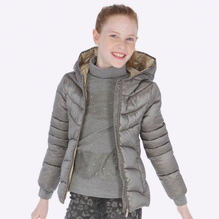 Dievčenská prešívaná bunda na zips s kapucňou