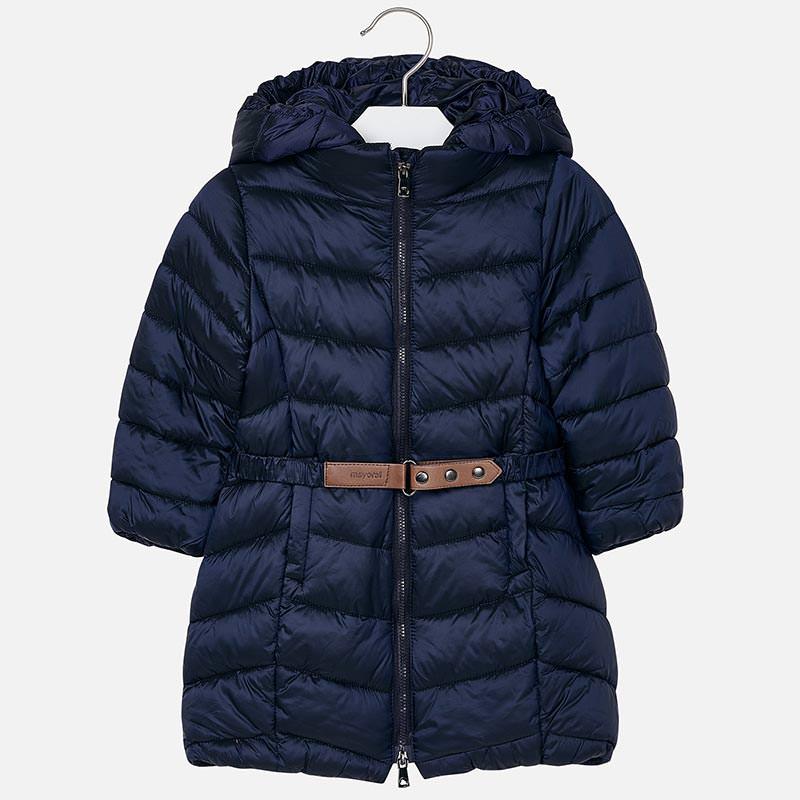 Dievčenská zimná bunda s kapucňou a s opaskom