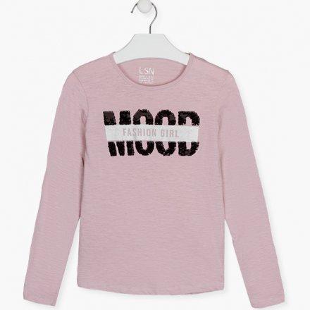 Dievčenské tričko s dlhým rukávom a s flitrami