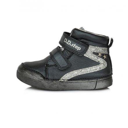 Dievčenské kožené prechodné  kotníkové topánky -Black