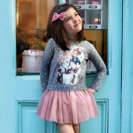 Dievčenské šaty s dlhým rukávom a s tylovou sukňou