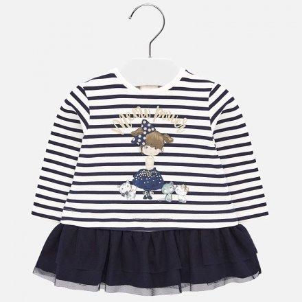 Dievčenské kombinované šaty s dlhým rukávom a tylovou sukničkou