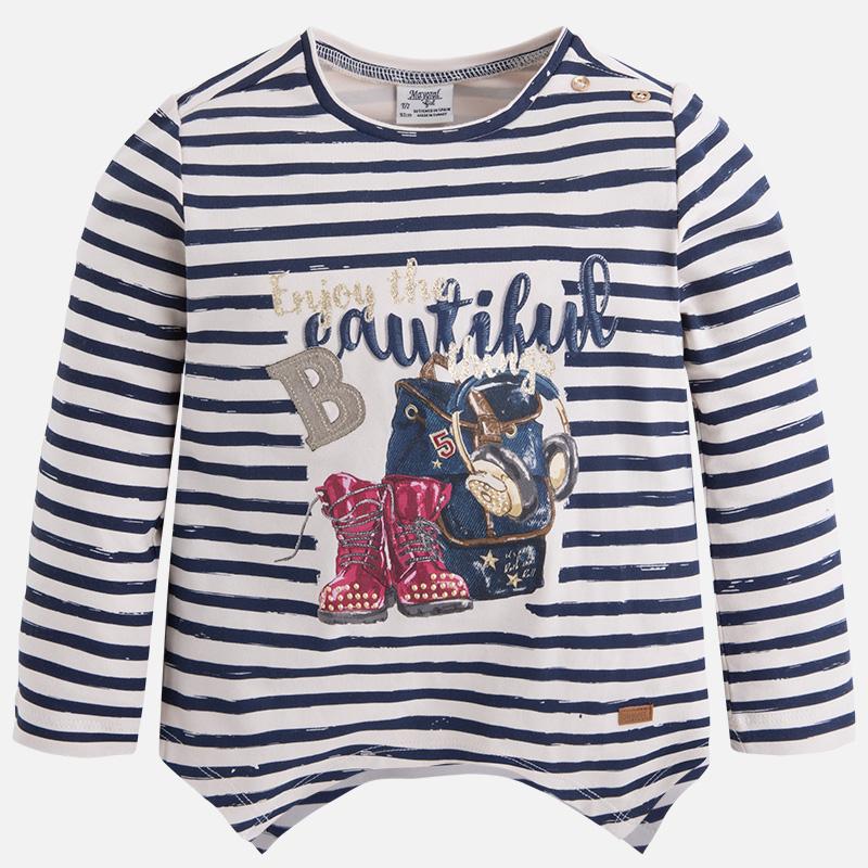 Dievčenské pruhované tričko s dlhým rukávom a s kamienkami