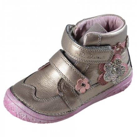 Dievčenská kožená kotníková obuv-Champagne
