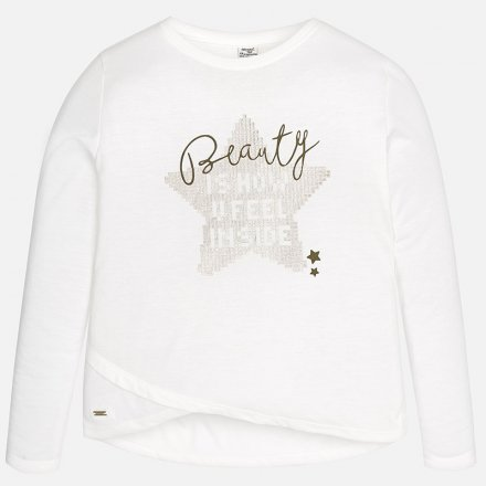 Dievčenské tričko s dlhým rukávom a s asymetrickým lemom