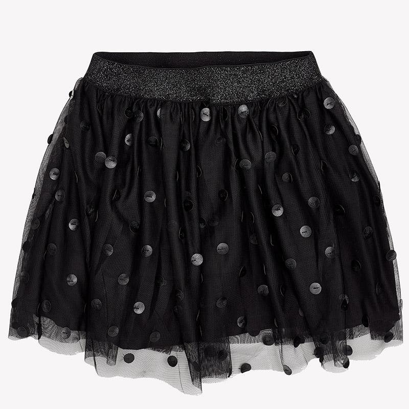 Tylová sukňa v čiernej farbe s bodkami
