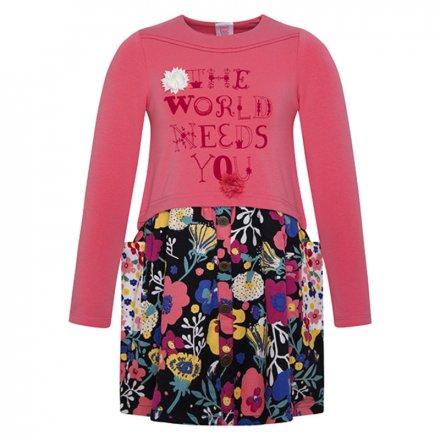 Dievčenské džersejové šaty s dlhým rukávom