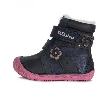 Dievčenské zimné topánky zateplené s kožušinkou-BAREFOOT-Royal Blue