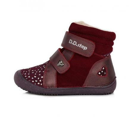 Dievčenské zimné topánky zateplené s kožušinkou-BAREFOOT-Raspberry