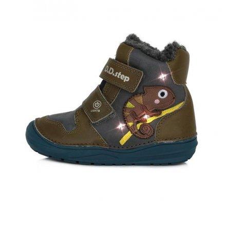 Chlapčenské kožené  zateplené blikajúce topánky-Khaki