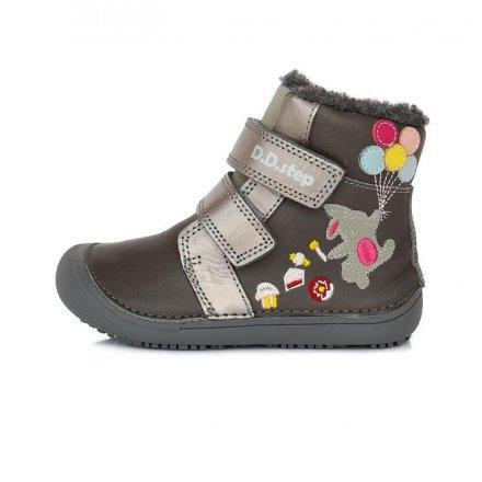 Dievčenské zimné topánky zateplené s kožušinkou-Grey-BAREFOOT