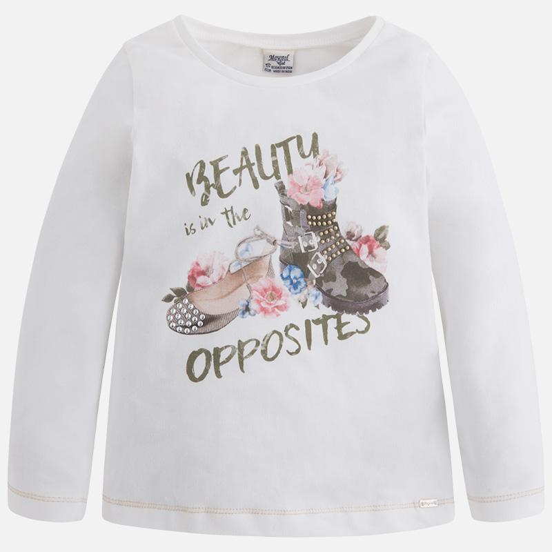 Dievčenské tričko s dlhým rukávom a s kamienkami