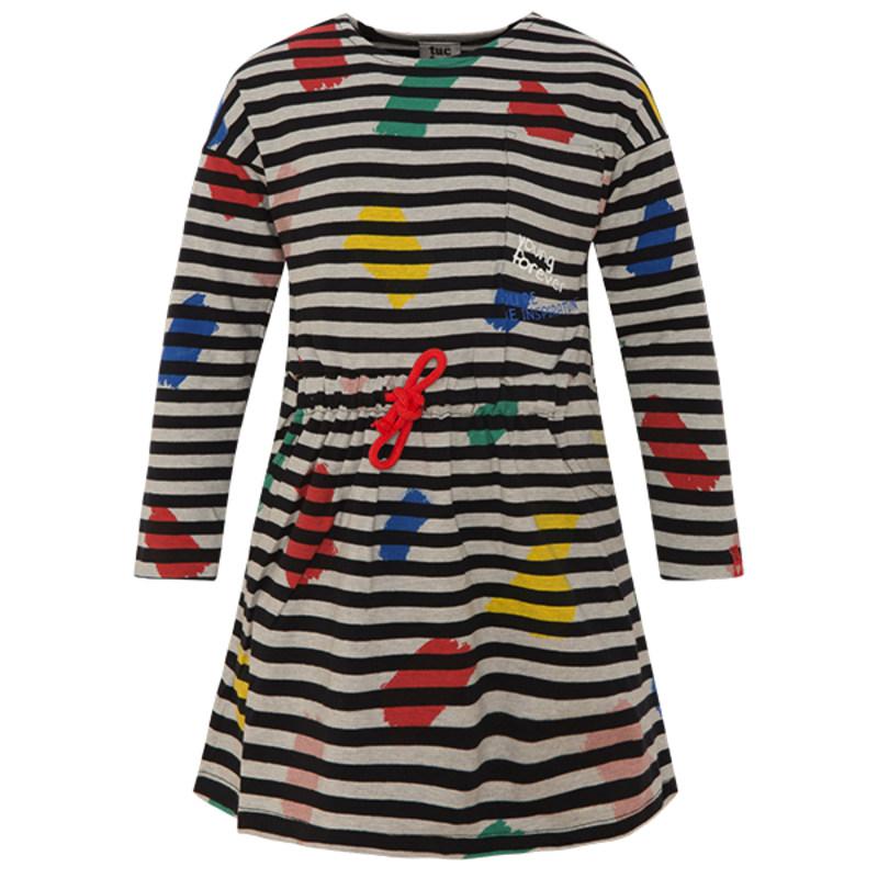 Džersejové pásikavé šaty s dlhým rukávom