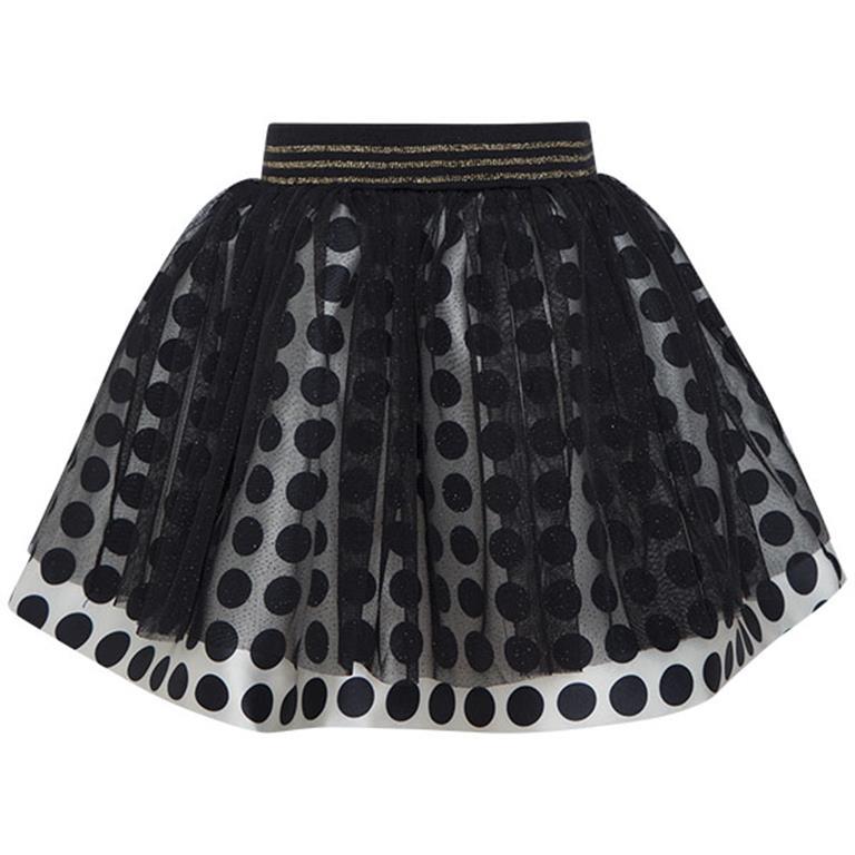 Bodkovaná sukňa s tylom a s elastickým pásom