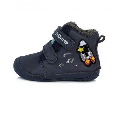 Chlapčenské zimné topánky zateplené s kožušinkou-BAREFOOT-Royal BLUEGrey