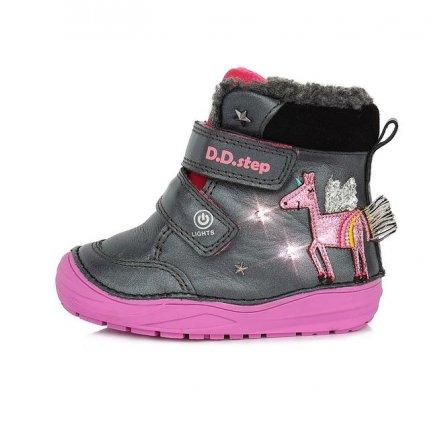 Dievčenské kožené zateplené blikajúce topánky-Black