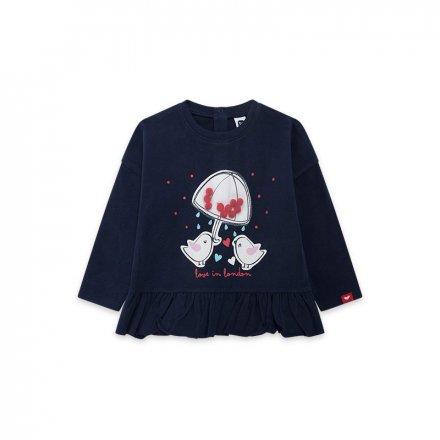 Dievčenské tričko s dlhým rukávom a s nášivkami