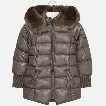 Dievčenský zimný kabát s kožušinovou kapucňou