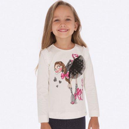 Dievčenské tričko s dlhým rukávom a s tylovou ozdobou