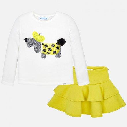 Dievčenský set tričko so psíkom a volánová sukňa