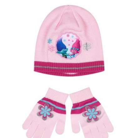 Dievčenský set čiapka a rukavice Trollovia