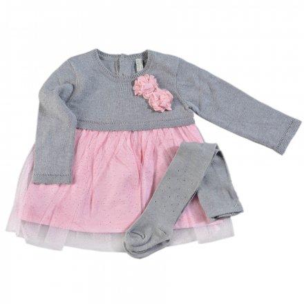 Dievčenské kombinované šaty s dlhým rukávom s tylovou sukňou