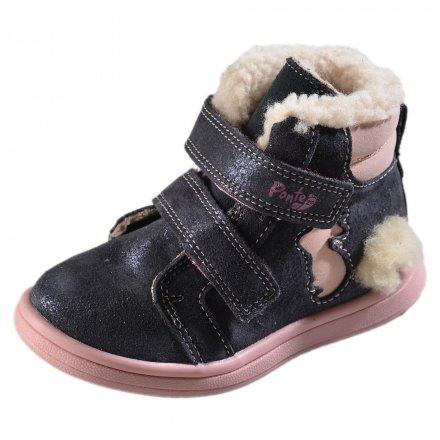 Dievčenské zimné topánky zateplené s kožušinkou-PONTE