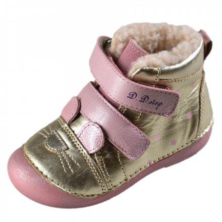 Dievčenské zimné topánky zateplené s kožušinkou-Champagne