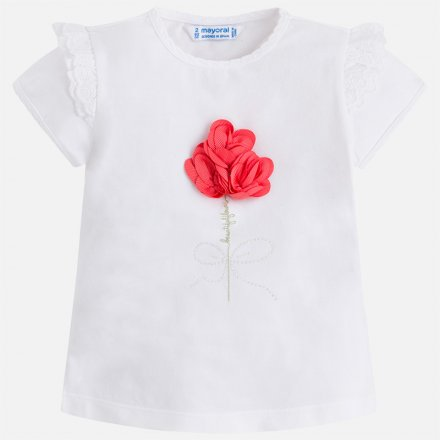 Dievčenské letné tričko s kvetinovou aplikáciou