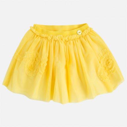 Žltá tylová sukňa s vyšívkou