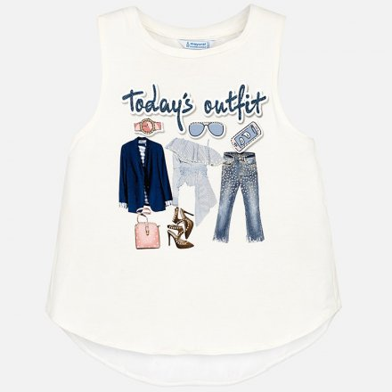 Dievčenské tričko bez rukávov s kamienkami