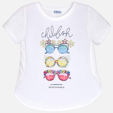 Dievčenské tričko s krátkym rukávom zdobená s farebným štrasom