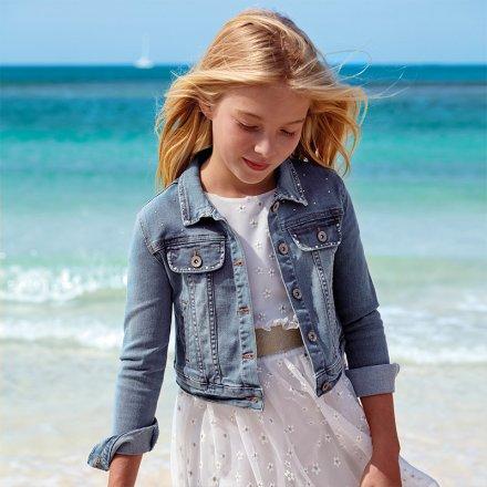 Dievčenský riflový kabát s golierom a s ozdobnými kamienkami